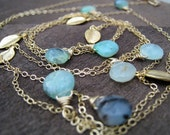 Peruvian blue opal & gold leaf long necklace, opera length long chain, bridesmaid gifts, blue opal, october birthstone