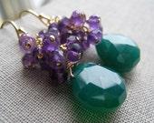 Purple Amethyst and Green onyx  Earrings, gemstone dangle earrings, rich autumn color jewelry