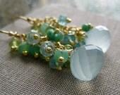 Seafoam blue chalcedony, chrysoprase, peridot, aquamarine mix earrings, 14k gold filled, bridesmaid gifts, wedding jewelry