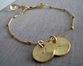 Friendship Initial bracelet, personalized jewelry, best friends initial charm bracelet, bff gift, 14kgf satellite chain, birthstone accent