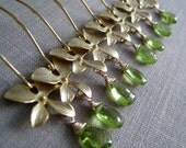 Bridesmaid orchid earrings, gold orchid peridot earrings, set of 4 bridal party jewelry, bridesmaid gift