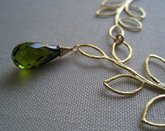 Double Gold Leaf Neckalce, Olive green stone necklace, Olivine cz, bridesmaid necklace, bridal party gifts