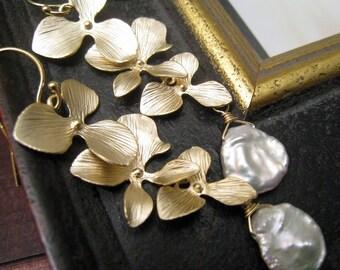Orchid Earrings with keishi pearls, Gold triple orchid pearl earrings, bridesmaid earrings, bridal jewelry, flower cascade earrings
