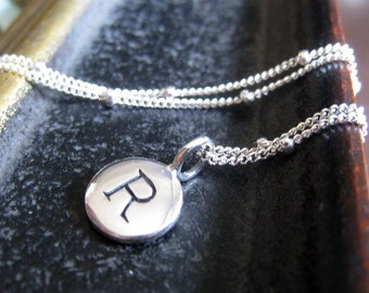 dainty Initial necklace, personalized jewelry, sterling silver initial disc necklace, 925 ss satellite chain, monogram letter charm necklace