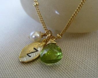dainty leaf initial necklace, personalized jewelry, satellite chain, birthstone, tiny leaf charm, hand stamped jewelry, autumn