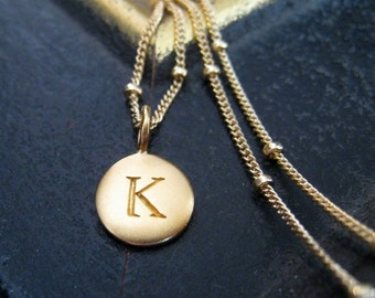 Gold initial necklace on a satellite chain, monogram necklace, personalized jewelry