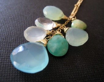 Aqua mix necklace, blue chalcedony, opal, chrysoprase, summer cool shades jewelry, aqua blue gemstone mix, ocean, seaside, pastel, beach