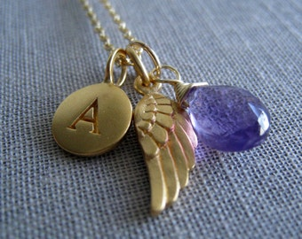 Angel wing necklace, initial birthstone, protection,  remembrance