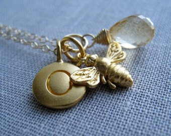 Honey bee initial necklace, personalized jewelry, gold bumble bee charm, monogram necklace,  sweet sixteenth birthday gift
