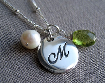 birthstone initial necklace, monogram necklace, cursive script font necklace, silver letter charm, personalized jewelry