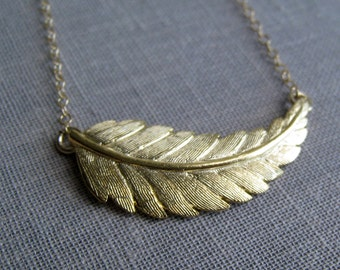 Gold leaf necklace, gold feather necklace, simple nature jewelry, affordable gifts, gold charm necklace
