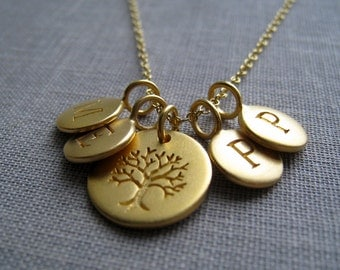 Family initial necklace, Gold tree of life necklace mother necklace, gift for grandmother, childrens initials, tree of life etched charm