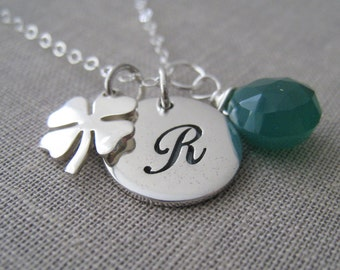 personalized lucky jewelry,  initial necklace, four leaf clover, shamrock charm, good luck charm,  graduation, promotion gift