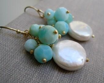 blue Opal earrings, pearl earrings, mint blue, peruvian blue opal, freshwater pearls, bridesmaid earrings, wedding party jewelry, weddings