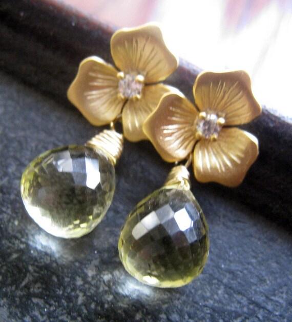 Petite Flower Earrings--lemon topaz