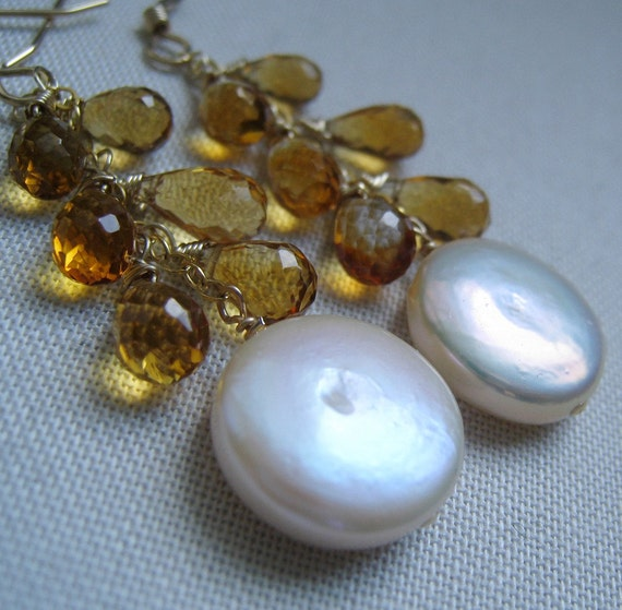 SALE-Citrine and Coin pearl Earrings, golden honey yellow and creamy white pearls, bridal jewelry