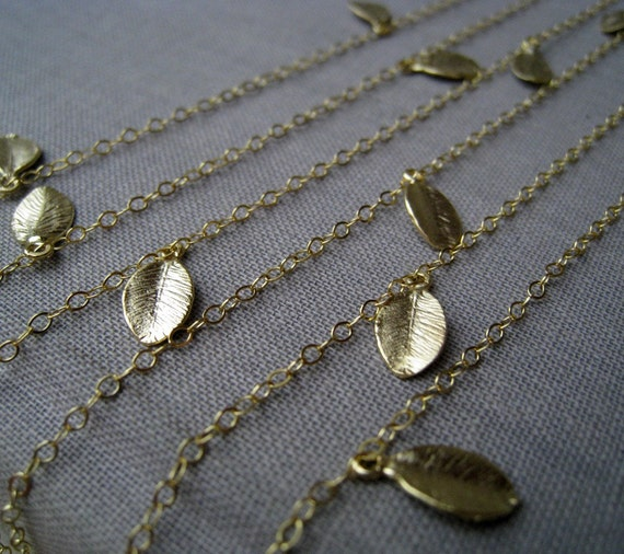 Long dainty leaf necklace, layered leaf charm necklace, 40''opera length, gold or silver double wrapped necklace, Autumn jewelry, boho chic