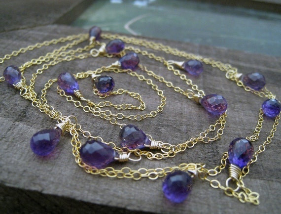 Long Amethyst necklace, double wrapped necklace, 14k gold filled, wire wrapped gemstone, bridesmaid jewelry, layered necklace