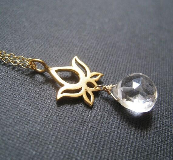 dainty Lotus necklace, Lotus & gemstone necklace, zen style jewelry, yoga jewelry, crystal charm, customized gemstone charm