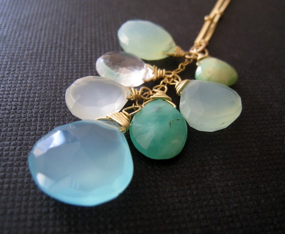 Aqua mix necklace, blue chalcedony, opal, chrysoprase, summer cool shades jewelry, aqua blue gemstone mix, ocean, seaside, pastel, beach