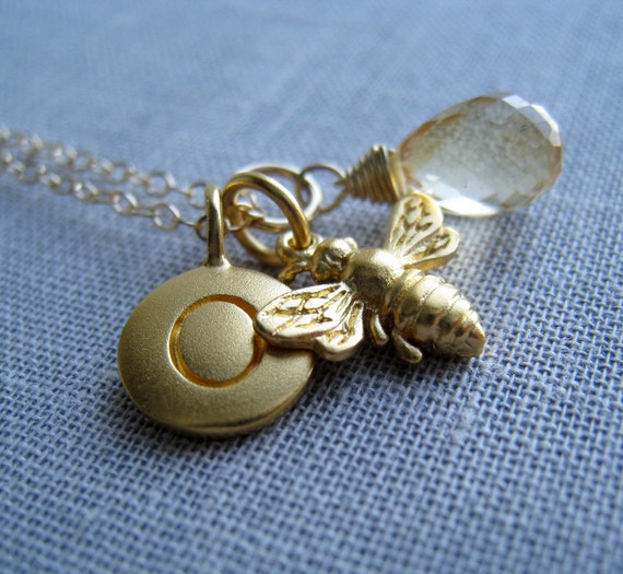 Sweet 16 gift, Honey bee initial necklace, personalized jewelry, gold bumble bee charm, monogram necklace
