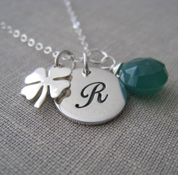gift for teacher, Lucky initial necklace, personalized jewelry, shamrock charm, birthstone accent, good luck