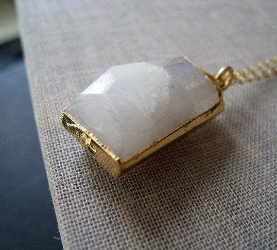 Gold edged rainbow moonstone necklace, white flashy gemstone gold dipped jewelry, bridal jewelry, weddings, moonstone necklace