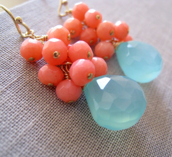 Maid of honor gift, Aqua earrings, bridesmaid coral earrings, aqua blue chalcedony, bridal party jewelry, pink, pastel, spring weddings