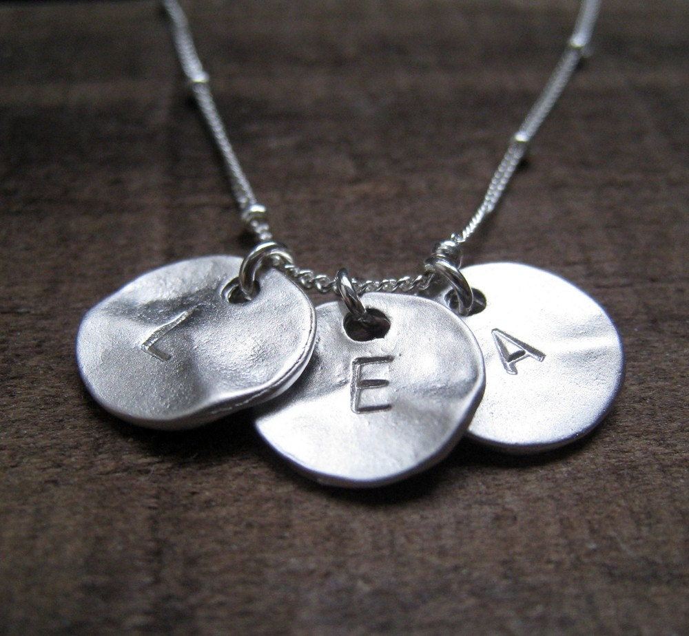 three initial necklace silver initial disc sterling silver. Black Bedroom Furniture Sets. Home Design Ideas