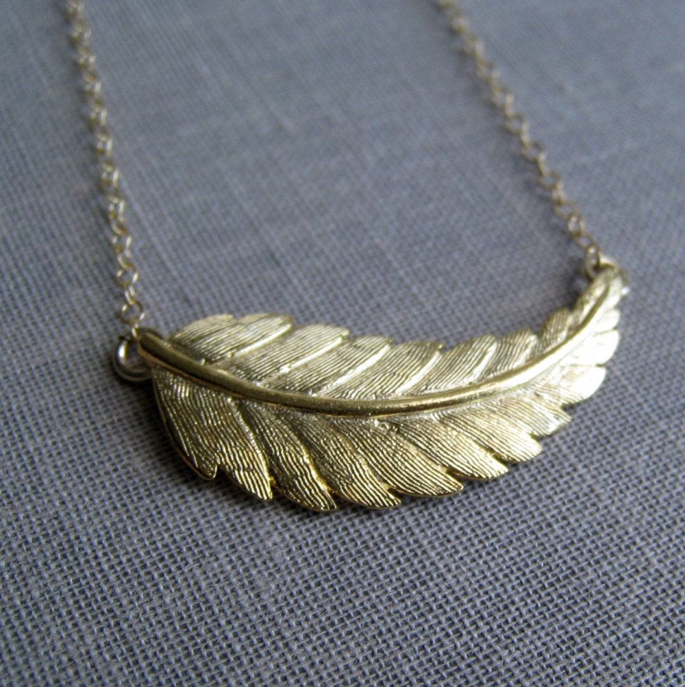 Gold Leaf Necklace Gold Feather Necklace Simple Nature