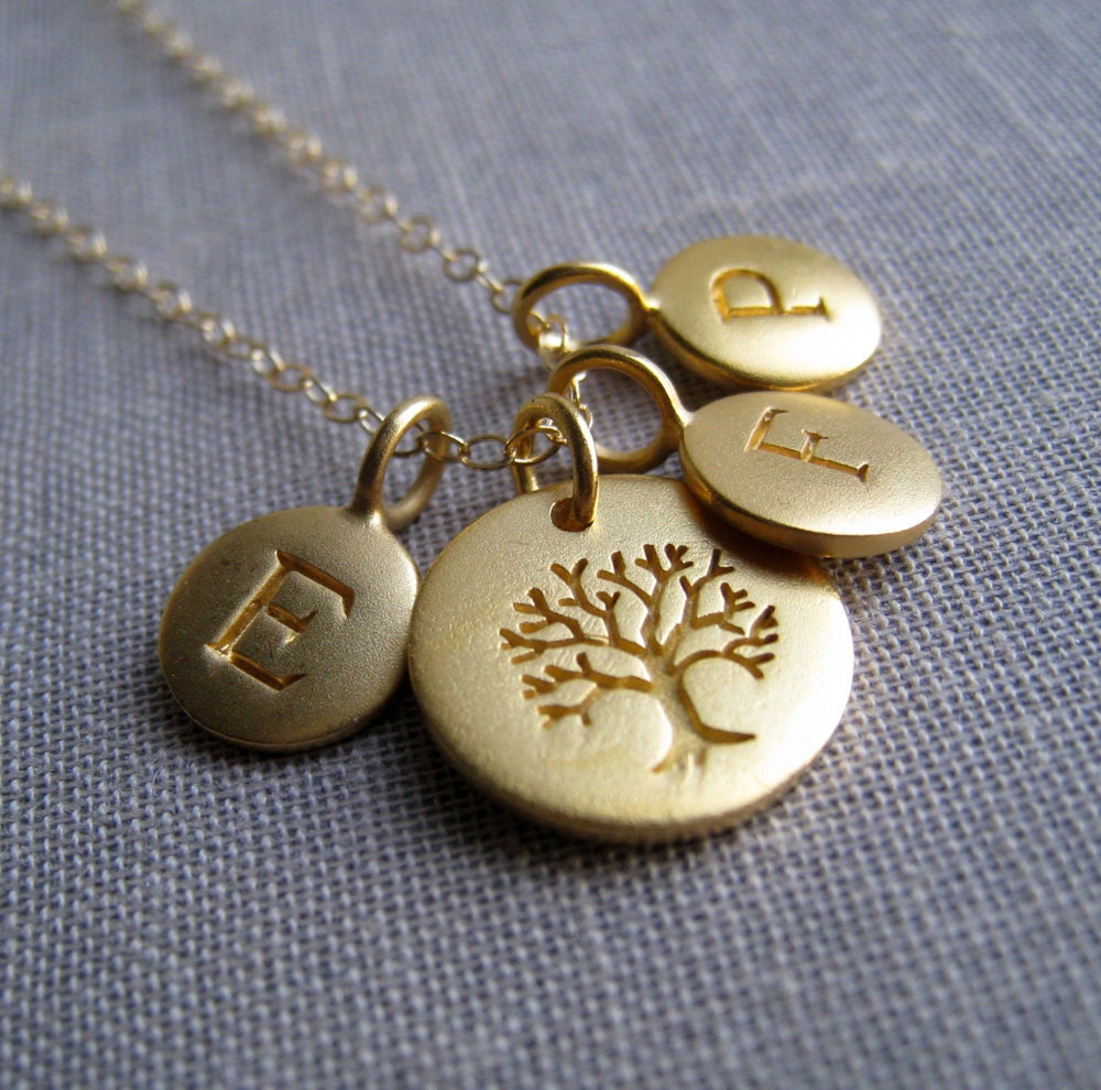 personalized family tree necklace gold initial necklace tree
