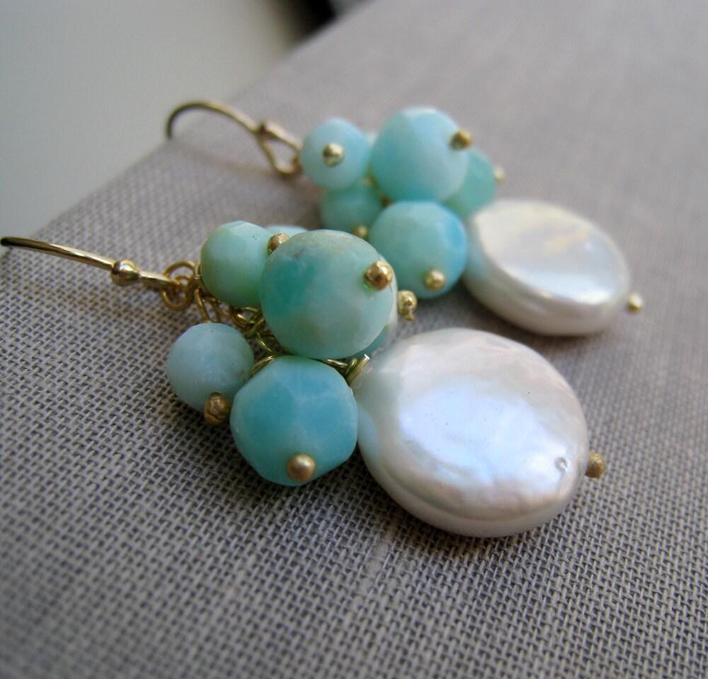 blue opal earrings pearl earrings mint blue peruvian blue. Black Bedroom Furniture Sets. Home Design Ideas