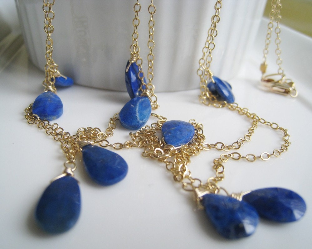 lapis lazuli long necklace royal blue stone by thejewelrybar. Black Bedroom Furniture Sets. Home Design Ideas
