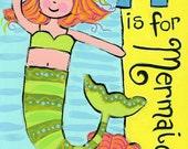 M is for Mermaid print of original painting 8x10