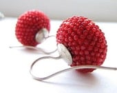 Poppy red earrings Antique faceted glass beads by donauluft