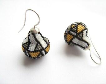 Earrings beaded Art Nouveau glass beads and silver925 dangle earrings