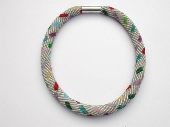 beaded Collier multicolored oblongs by DONAULUFT