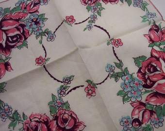 Vintage handkerchief roses with white