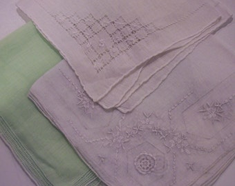 3 hankies - Green and whites