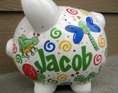 Whimsical Bugs Personalized Piggy Bank-Large