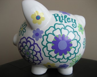 Large Piggy Bank-Custom Personalized-Riley Flowers