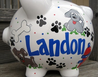 Puppy Dog Personalized Piggy Bank-Large