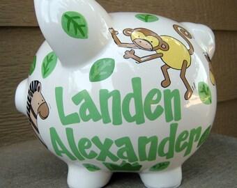 Large-Personalized Piggy Bank-Safari Animals