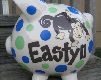 Monkey and Polka Dots Personalized Piggy Bank-Large