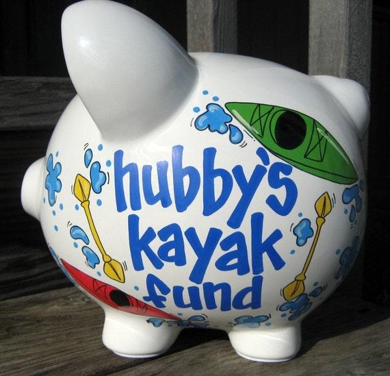 Large-Custom Personalized Piggy Bank-Kayak Fund