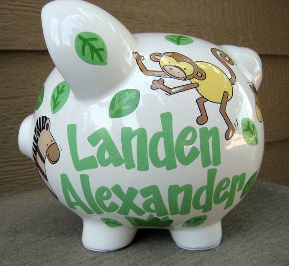 Large Personalized Piggy Bank Safari Animals