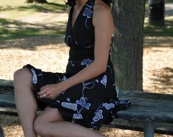 Black and white halter bubble dress, SALE