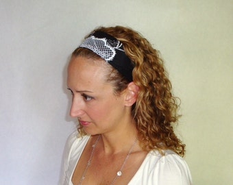 headband, black and white