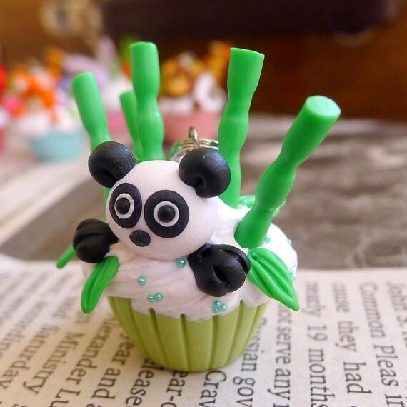 Green Panda and Bamboo Kawaii Cupcake Pendant