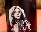 Robert Plant Black Coffee Mug- art, painting, black and white, singer, musician, Led Zeppelin, classic rock, English, music, band